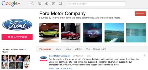 Página da Ford no Google+. (Foto: Reprodução/Google+)
