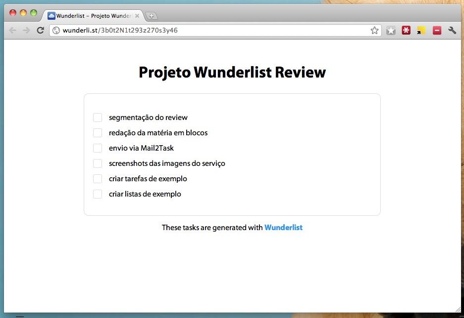 Wunderlist - exemplo de uma lista de tarefas com link encurtado para visualização temporária na internet. (Foto: Reprodução)