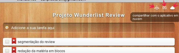 Wunderlist - funções adicionais de compartilhamento. (Foto: Reprodução)