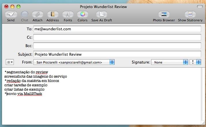 Wunderlist - criação de uma lista de tarefas a partir de um e-mail. (Foto: Reprodução)