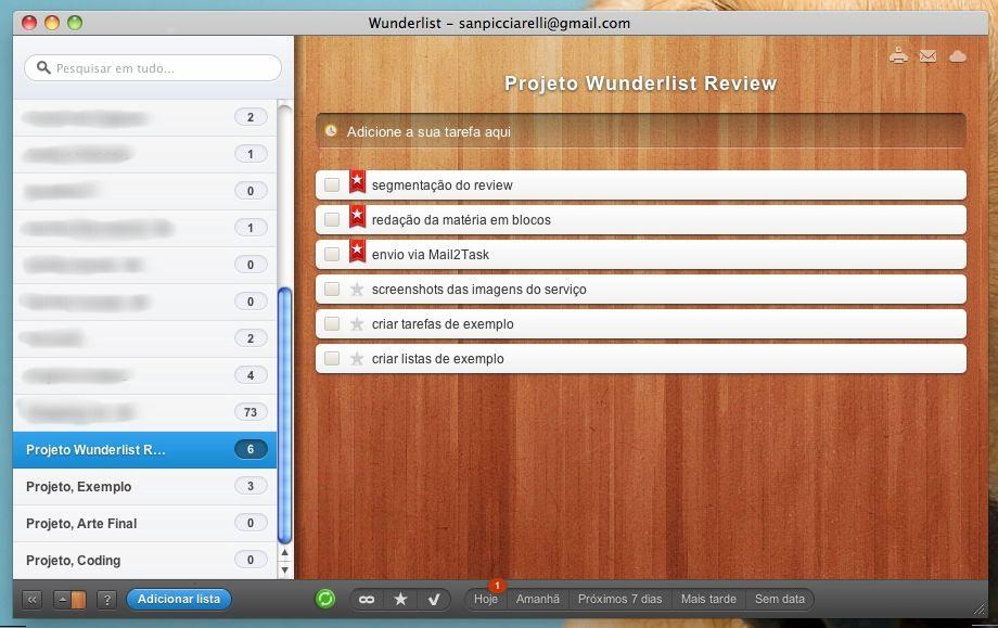 Wunderlist - a mesma lista imediatamente sincronizada com o serviço. (Foto: Reprodução)