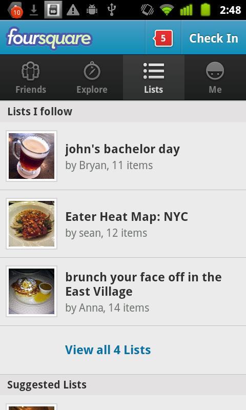 Recursos de listas no Foursquare (Foto: Divulgação)