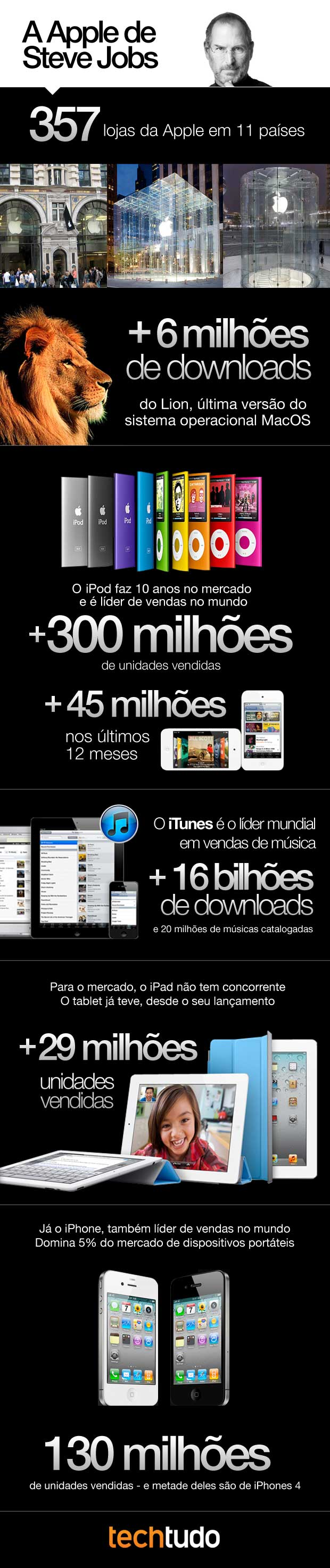 A Apple de Steve Jobs, infográfico. (Foto: TechTudo)
