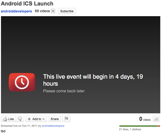 Pgina do livestream do evento de lanamento do Android Ice Cream Sandwich (Foto: Reproduo)