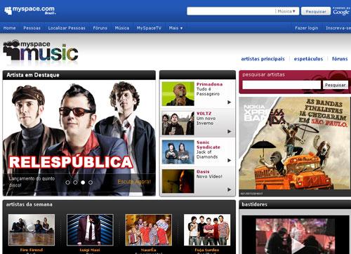 Página do MySpace (Foto: Reprodução)
