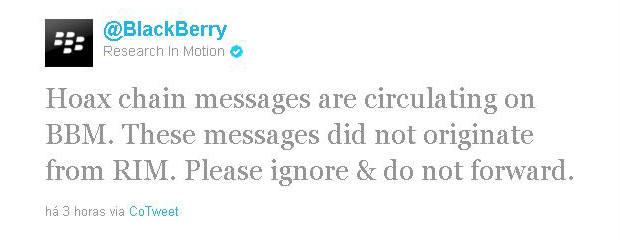 Tuíte da RIM sobre a Mensagem (Foto: Twitter)