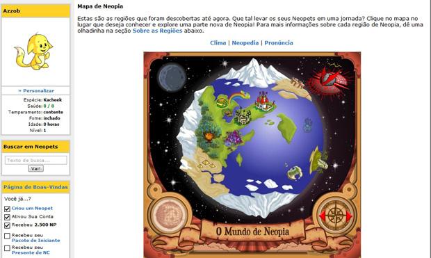 Mundo de Neopia, do site Neopets (Foto: Reprodução)