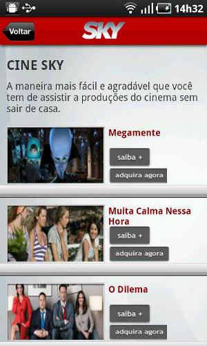 Interface com filmes para informações e compra (Foto: Divulgação)
