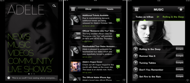 Menu inicial e opções de conteúdo do aplicativo Adele (Foto: Reprodução/Camila Porto)