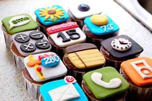 Cupcake de aplicativos de iPhone. (Foto: Oddee)