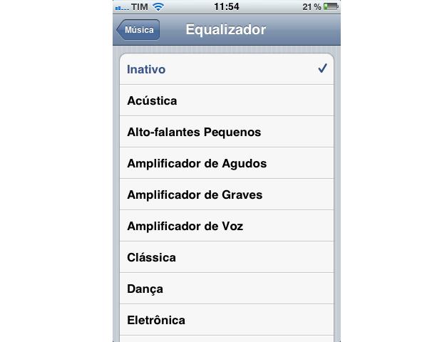 Equalizador de músicas do iPhone (Foto: Reprodução)