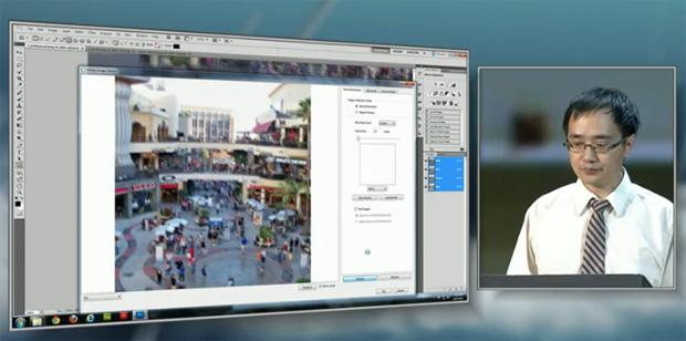 Jue Wang, pesquisador da Adobe durante demostração da ferramenta Image Deblurring (Foto: Reprodução/TV Adobe)