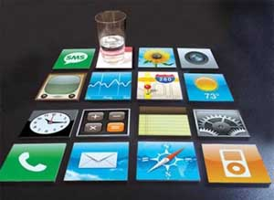 Porta-copos de apps do iOS. (Foto: Oddee)