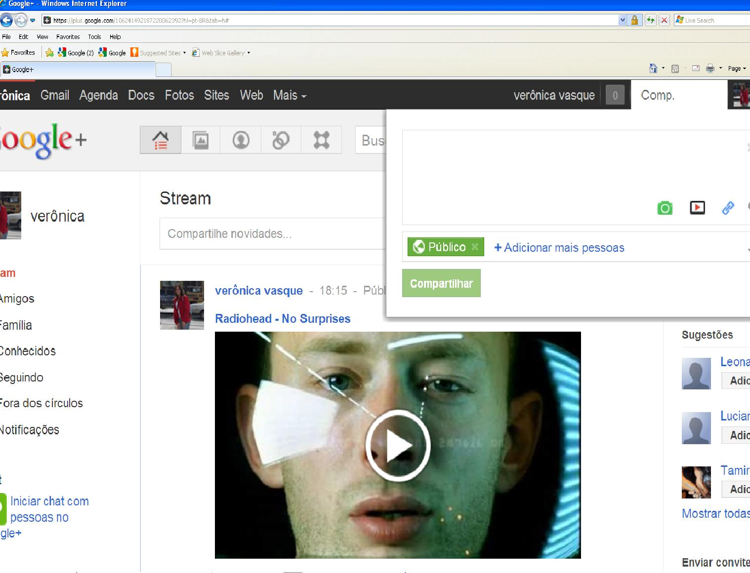 Compartilhar vídeo Google+. (Foto: Divulgação)