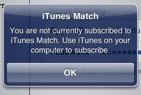 Alerta do iTunes Match (Foto: Reprodução)