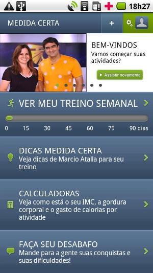 Menu principal do aplicativo (Foto: Divulgação)