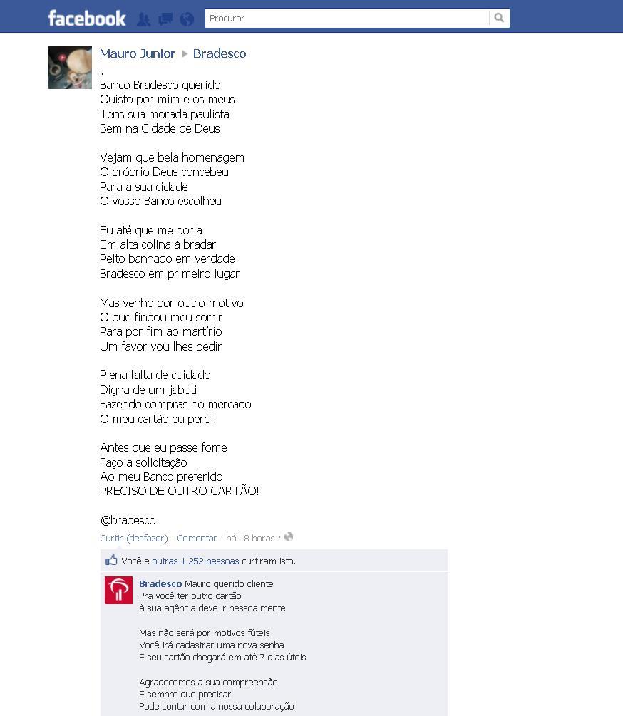 Post de usuário no Facebook. (Foto: Divulgação)