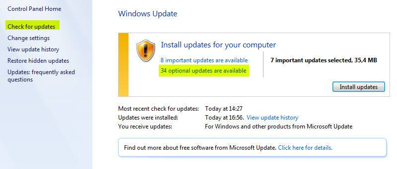 """Check for Updates"" e ""Optional Updates available"" (Foto: Reprodução/TechTudo)"