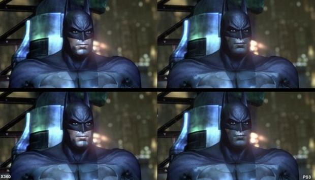 Comparação de uma imagem 3D de Batman  Arkham City no Xbox 360 e PS3. a08be356fbe