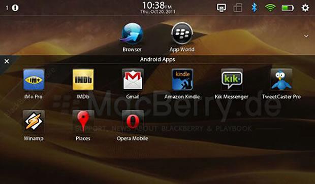 BlackBerry Playbook com aplicativos Android (Foto: Reprodução)