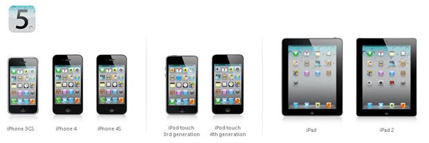Aparelhos da Apple compatíveis com sistema operacional iOS 5 (Foto: Divulgação)
