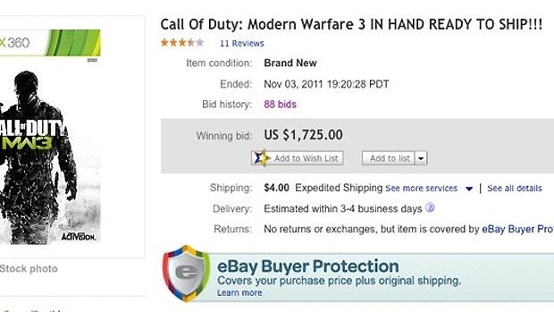 Jogador paga US$ 1.725 por cópia antecipada de Call of Duty Modern Warfare 3 (Foto: Divulgação)