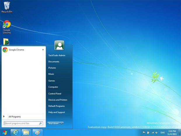 Menu Iniciar clássico no Windows 8 (Foto: Reprodução/TechTudo)