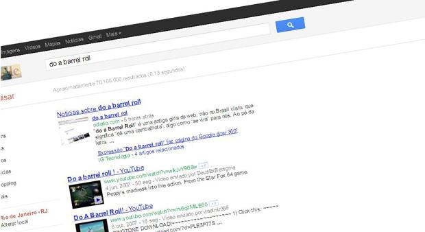 Do a barrel roll: efeito na página de busca do Google (Foto: Reprodução)