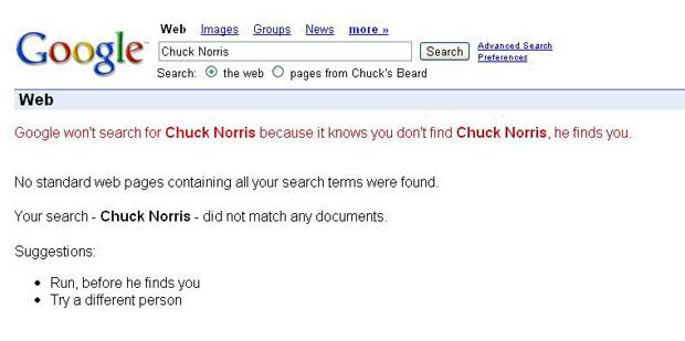 Find Chuck Norris: efeito do Google (Foto: Reprodução)