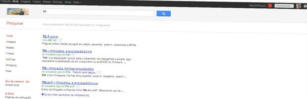 Tilt: efeito na página de busca do Google (Foto: Reprodução)