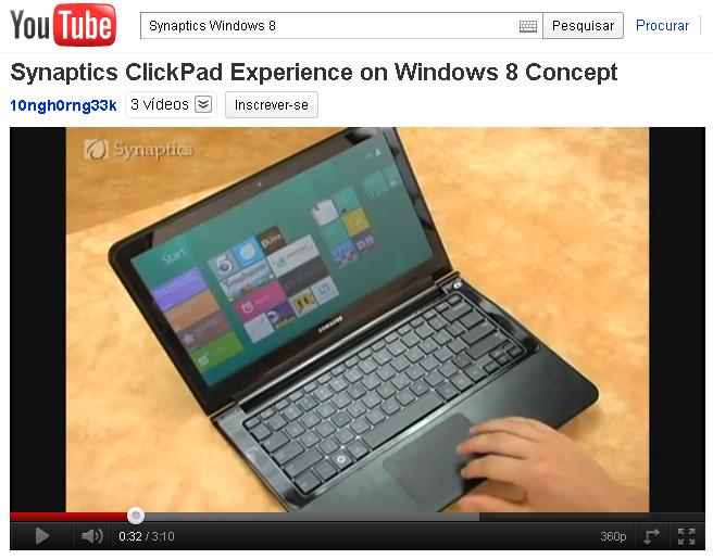 O sistema trackpad multitouch no Windows 8. (Foto: Reprodução)