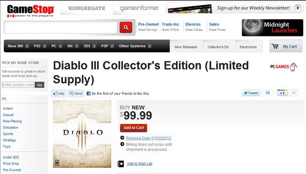 Loja canadense da rede Gamestop listou Diablo III para ser lançado em 1º de fevereiro (Foto: Reprodução)