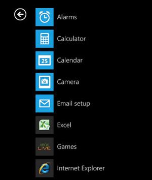 Menu do Windows Phone (Foto: Reprodução)
