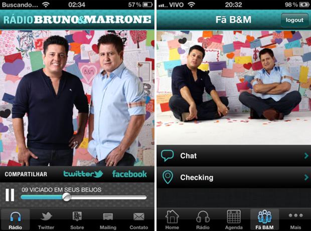 Aplicativos da dupla Bruno e Marrone (Foto: Reprodução)
