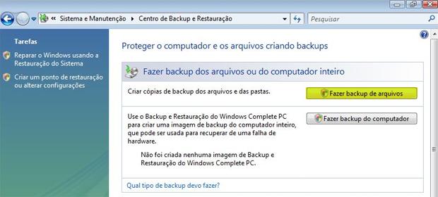 Backup Windows Vista (Foto: Reprodução)