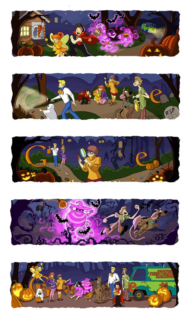 Homenagem pelo Halloween do Google mostra historinha do Scooby-Doo (Foto: Reprodução)