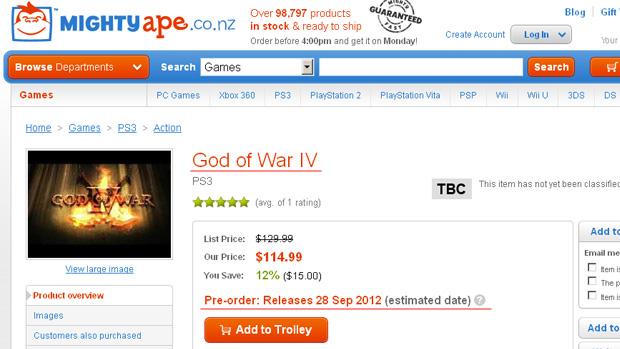 Loja lista God of War IV para 28 de Setembro de 2012 (Foto: Reprodução)
