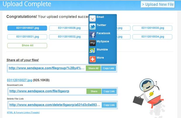 SendSpace: compartilhe ou copie os links dos arquivos (Foto: Reprodução)