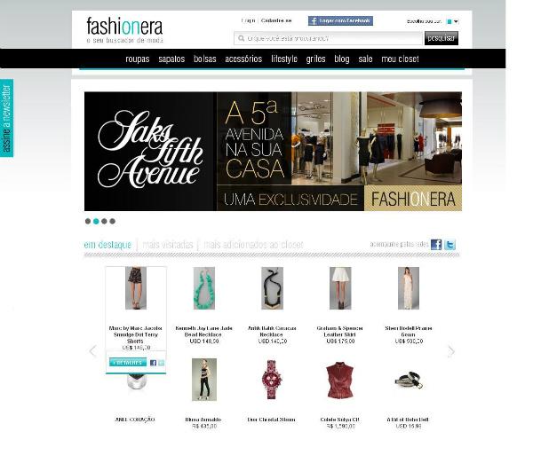 página do Fashioneira (Foto: Divulgação)