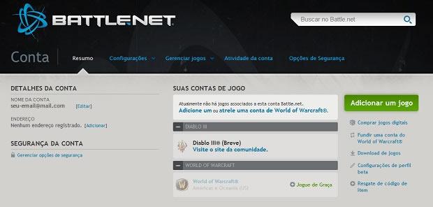 Detalhes da sua conta no Battle.net (Foto: Divulgação)