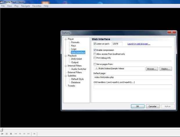 Web Interface do Media Player Classic (Foto: Reprodução)