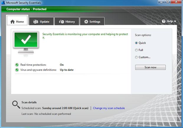A nova interface do Microsoft Security Essentials trabalha com o conceito de transformar a experiência de uso do produto mais limpa e agradável. (Foto: Reprodução)