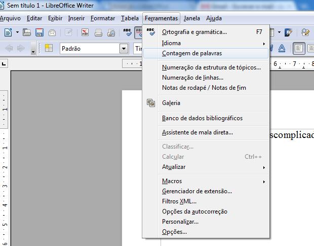 Contagem de palavras no Libre Office Writer (Foto: Reprodução/TechTudo)