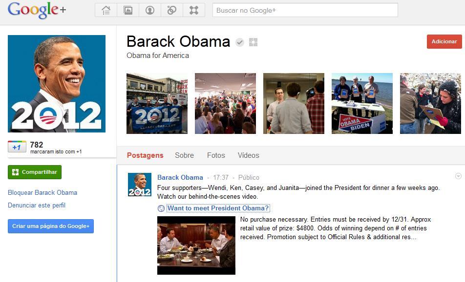 Obama no Google Plus (Foto: (Foto: Divulgação))