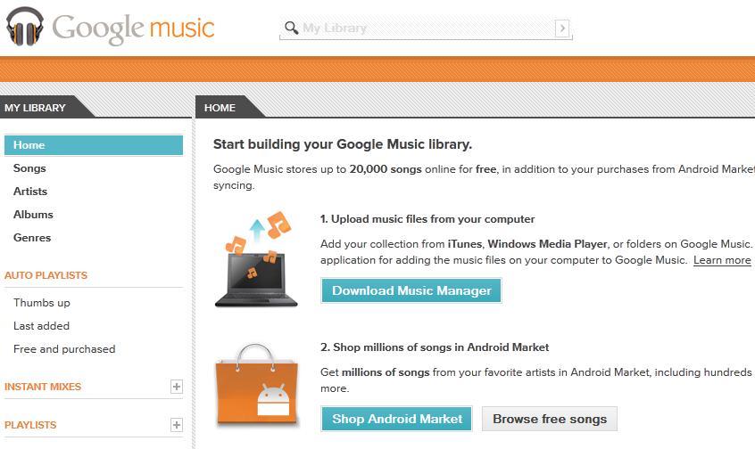 google music tela inicial (Foto: Tela de boas vindas do Google Music)