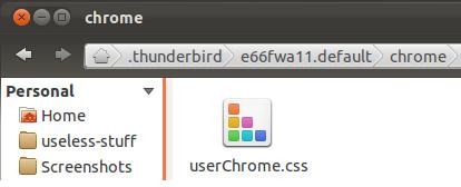 """Extraia o arquivo para a pasta que você criará, chamada """"Chrome"""", o arquivo se apresentará num formato como este: """"userChrome.css"""" (Foto: Reprodução/ OMG! Ubuntu!)"""