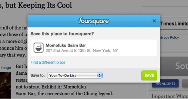Foursquare lança nova opção para salvar endereços. (Foto: Divulgação)