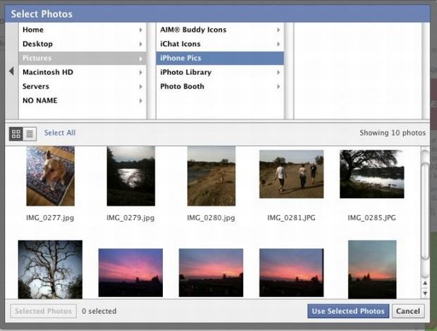 Nova interface de upload de imagens do Facebook. (Foto: Divulgação)