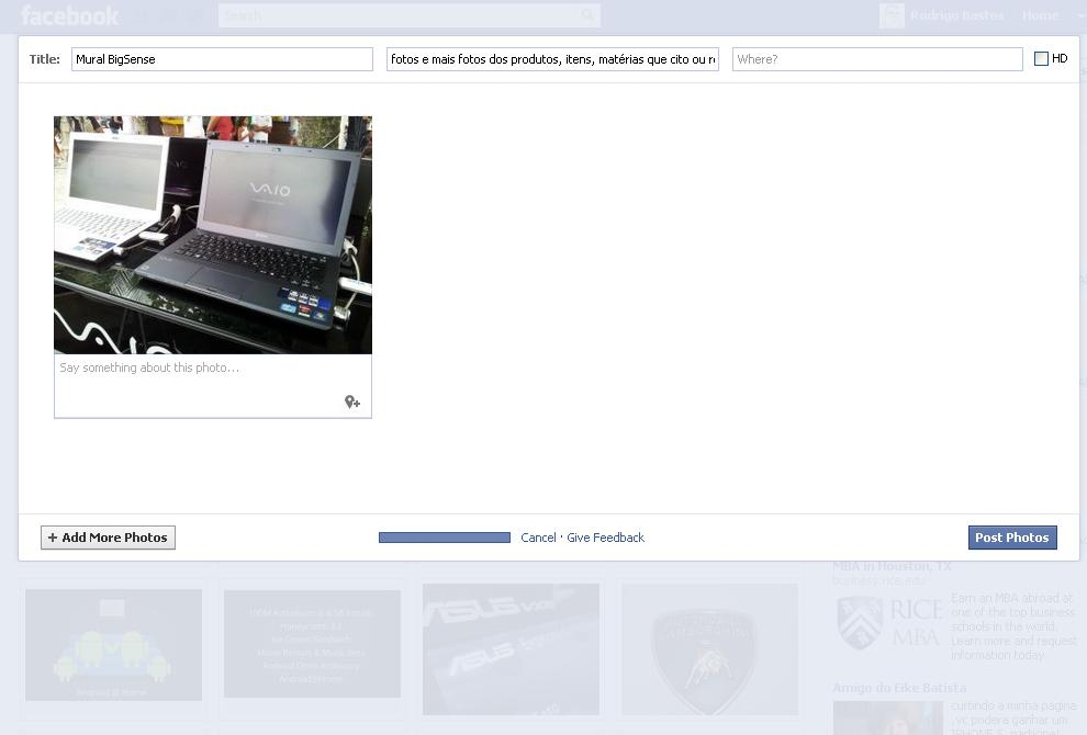 Novo formato de upload de fotos do Facebook (Foto: Foto: TechTudo / Rodrigo Bastos)