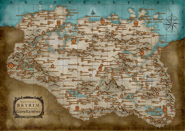 Mapa de The Elder Scrolls: Skyrim (Foto: Divulgação)